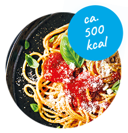 Portion Pasta mit Tomatensauce (ca. 500 kcal)